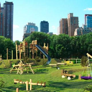Nachhaltige Stadtplanung – Skyline, davor Grünfläche mit großer Spielanlage aus Holz