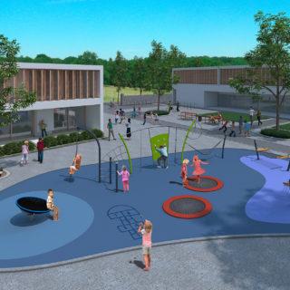 Schulhofgestaltung – computeranimierter Planungsentwurf einer modernen Schulhof-Spielanlage