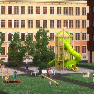 Spielgeräte für den Schulhof von eibe – Visualisierung von einem Schulhof mit Spielgeräten und spielenden Kindern.