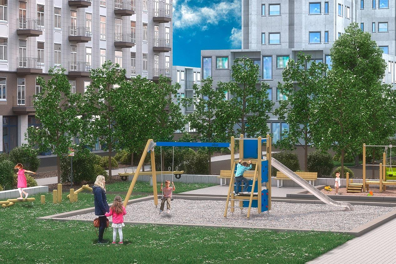 Öffentliche Spielanlagen - Computervisualisierung von einem Spielplatz mit Wohngebäuden im Hintergrund.