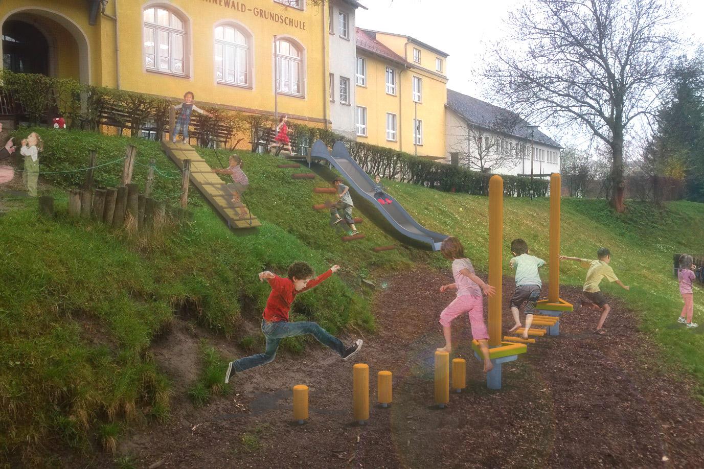 Bewegungsförderung –computeranimierter Planungsentwurf einer Grundschule mit bewegungsfördernden Spielplatzelementen