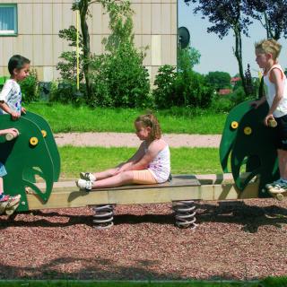 Unterschied zwischen Integration und Inklusion – fünf Kinder auf einer Wippe